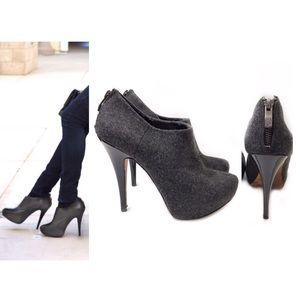 Vince Camuto 8 Gray Wool Ankle Booties Jerrell